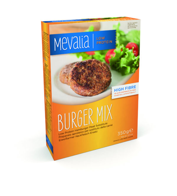 Харчовий продукт для спеціальних медичних цілей низькопротеїновий замінник м'яса для гамбургера Мевалія Бургер Мікс