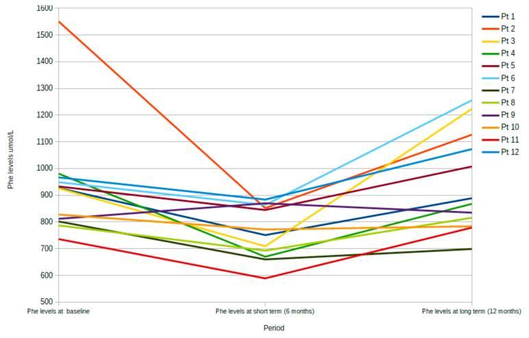 Уровень Phe в каждый момент времени: исходный уровень, через 6 месяцев (краткосрочный период) и 12 месяцев (длительный период) лечения LNAA для каждого пациента.